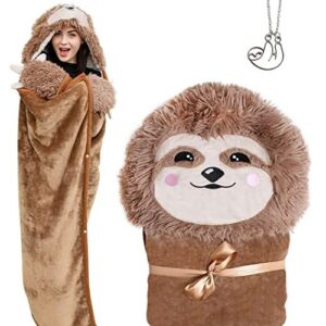 Sloth Wearable Hooded Blanket With Claws