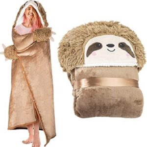 Sloth Wearable Hooded Blanket for Adults