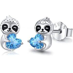 Sterling Silver Sloth Heart Stud Earrings Jewelry