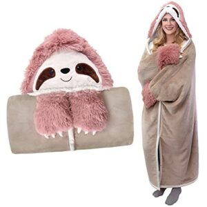 Warm Sloth Wearable Hooded Blanket for Adults